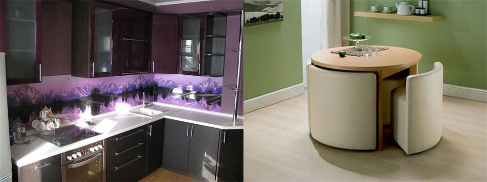 Яркий фартук и стол-трансформер интерьер маленькой кухни