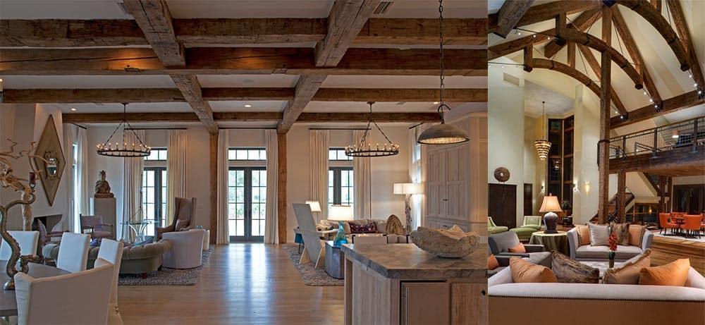 Балки под потолком как элемент декора Дизайн частного дома 2018