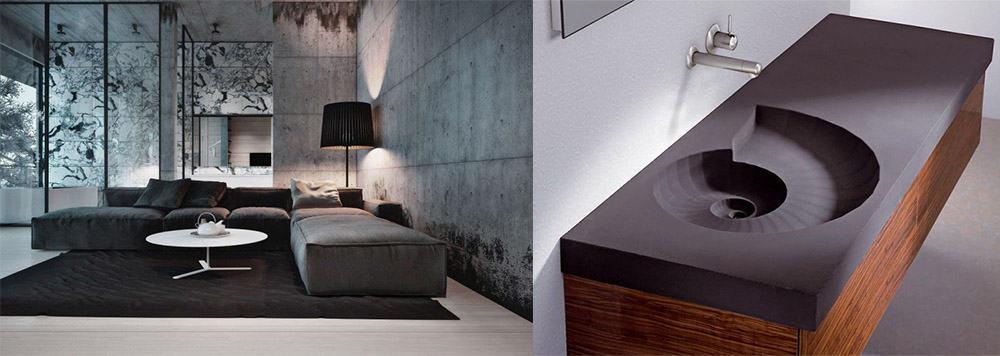 Бетон в новейших интерпретациях в отделке стен и в качестве материала для сантехники Дизайн дома 2018