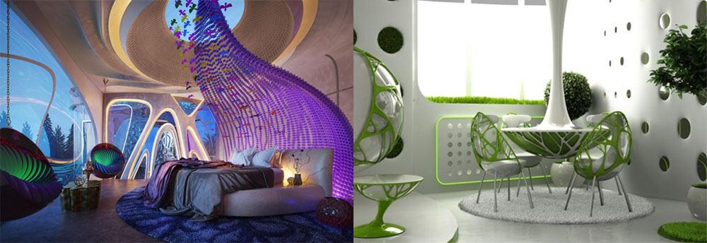 Био-тек, или бионика - стиль на стыке Хай-тека и Ар Нуво Апартаменты 2018