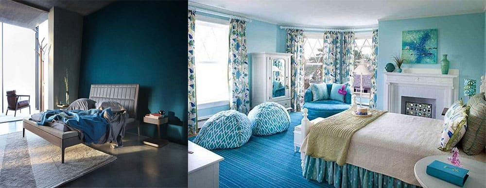 Водные оттенки чистые оттенки синего смешанный сине-зеленый Дизайн спальни 2018