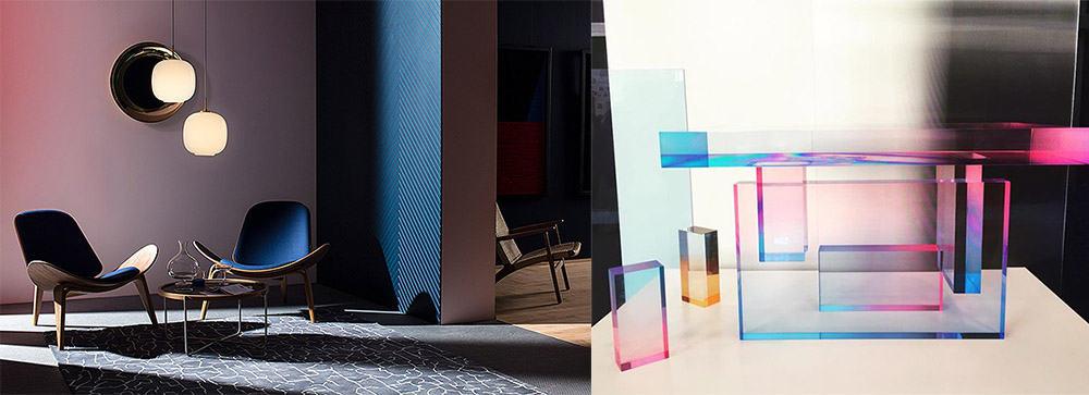 Градиенты в разнообразных элементах дизайна интерьера Современный интерьер 2018