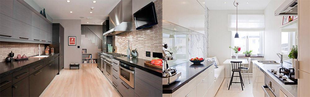 Двухлинейный Кухонный гарнитур 2018 для узких и длинных кухонь
