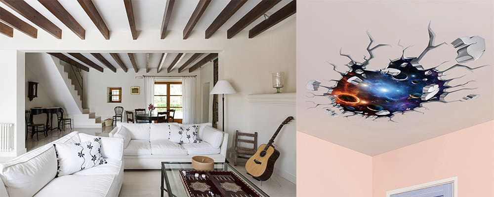 Декор простейшего потолка с поблекой оригинальный декор балками и виниловыми наклейками Потолки 2018