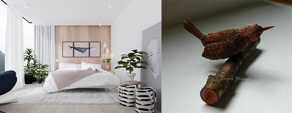 Дерево в интерьере для обшивки стен и статуэток Дизайн дома 2018