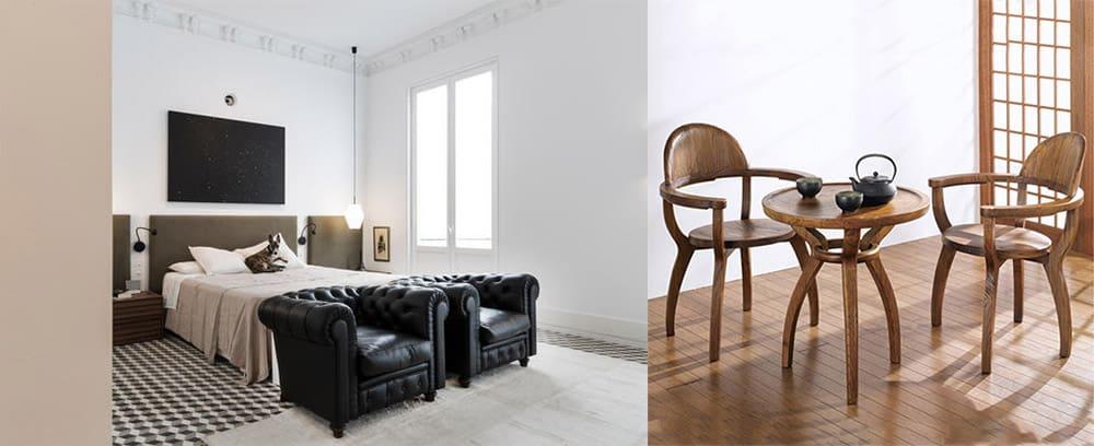 Зона разговоров место для чаепития и бесед два кресла и чайный столик Интерьер спальни 2018