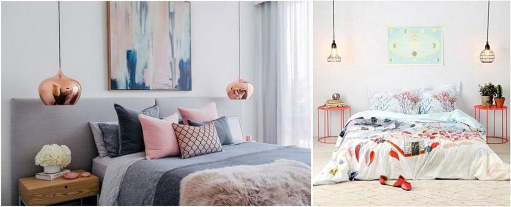 Металлические акценты контрастных цветов акценты на светильники Дизайн спальни 2018