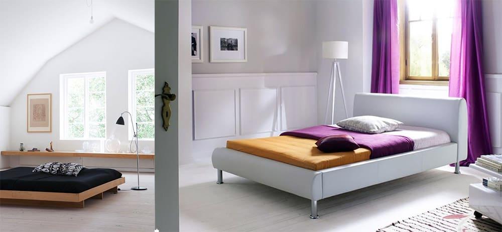 Миниалистичная кровать суперхит сезона вместе с насыщенными цветами Интерьер спальни 2018