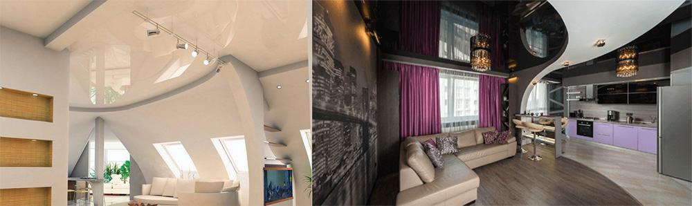 Многоуровневые Натяжные потолки 2018 для зонирования и освещения квартиры-студии