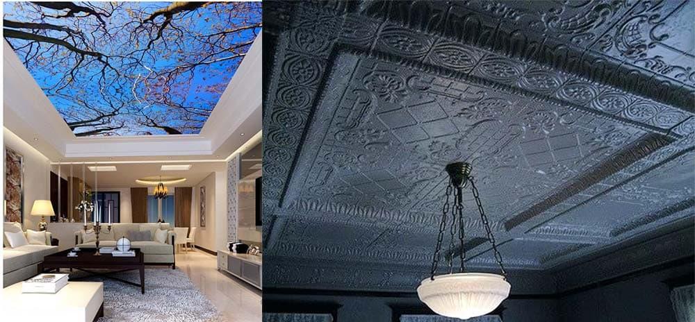 Обои для потолка специальные обои с эффектами трехмерности и лепнины современный дизайн потолков