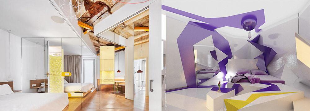 Оптические иллюзии в дизайне спален современных зеркала и кубизм идеи дизайна спальни 2018