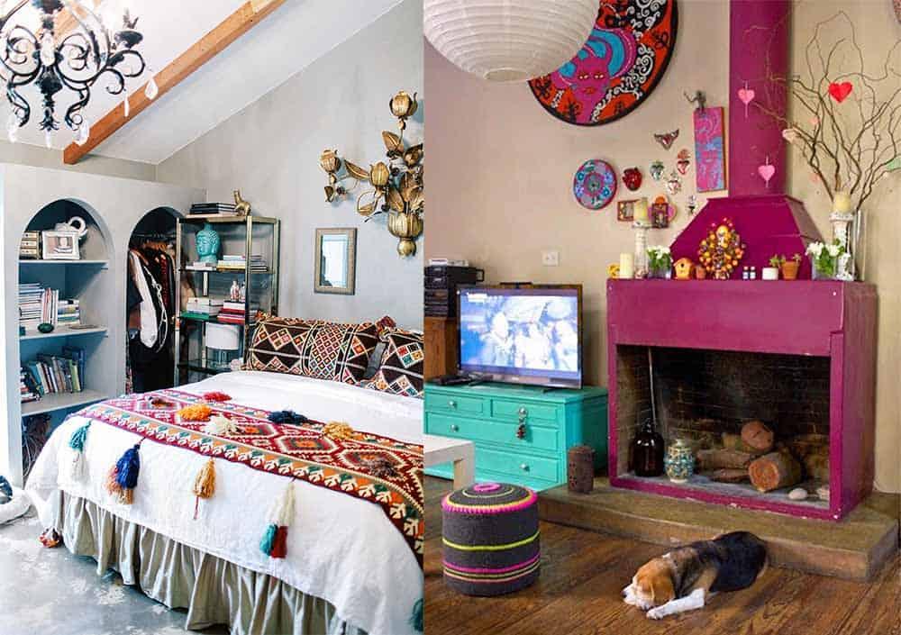 Пестрые цвета для декора интерьера стиль бохо в интерьере