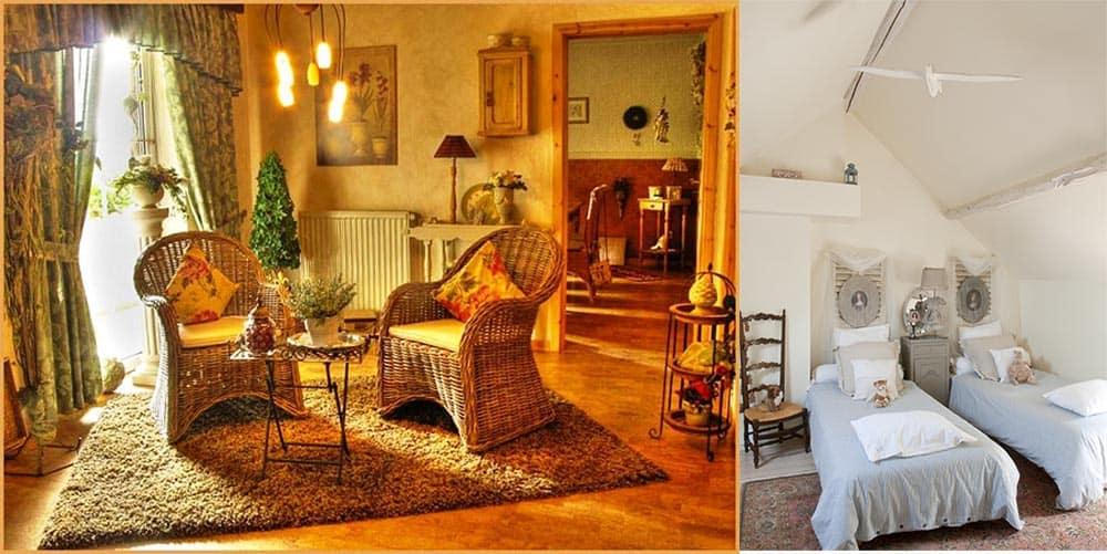Плетеная мебель и кованые элементы декора в кантри в интерьере