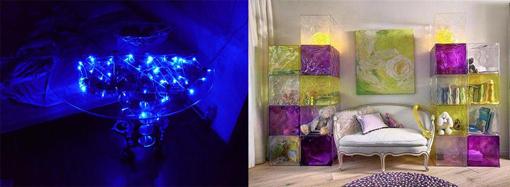 Подсветка и цветное стекло для переливчатого интерьера Цвет в интерьере 2018