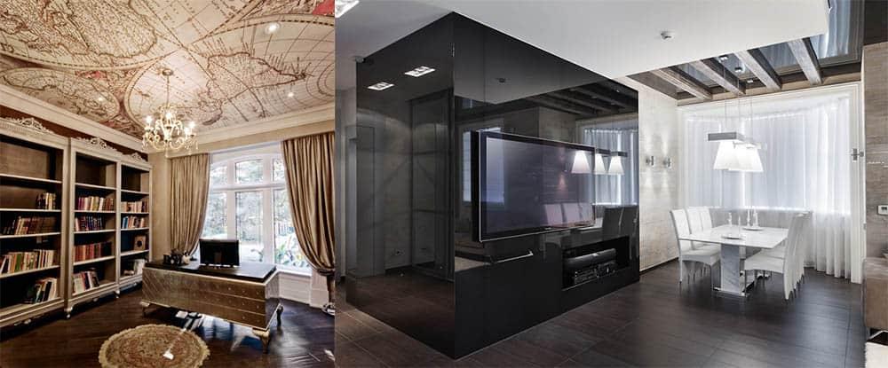 Правила сочетания глянцевых и матовых поверхностей потолков и стен современный потолок 2018