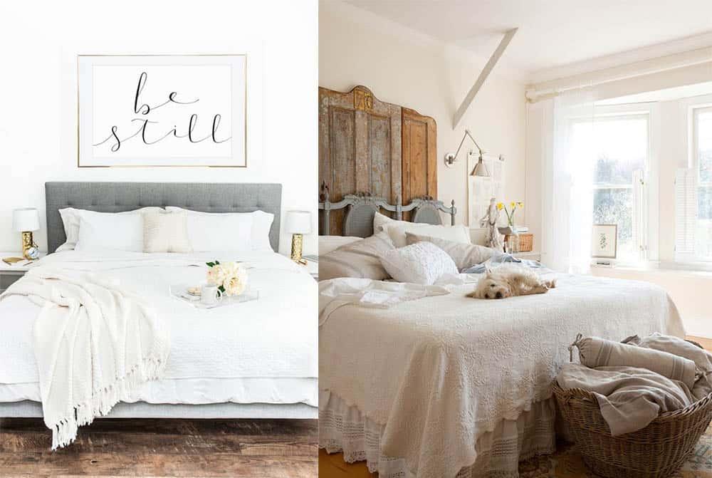 Простые нейтральные цвета в спальне простая мебель интерьер дома 2018