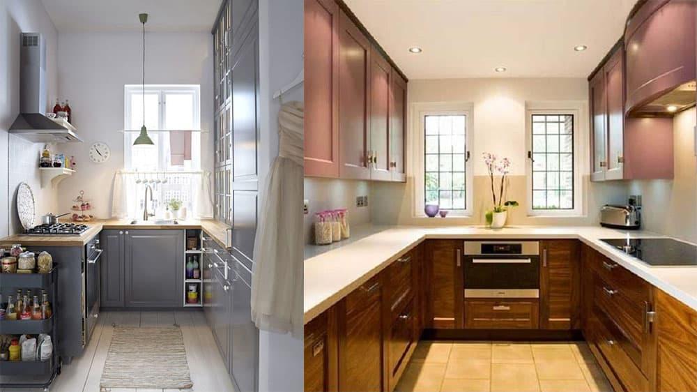 П-образный кухонный гарнитур удобный гарнитур для кухонь среднего размера дизайн кухонных гарнитуров 2018