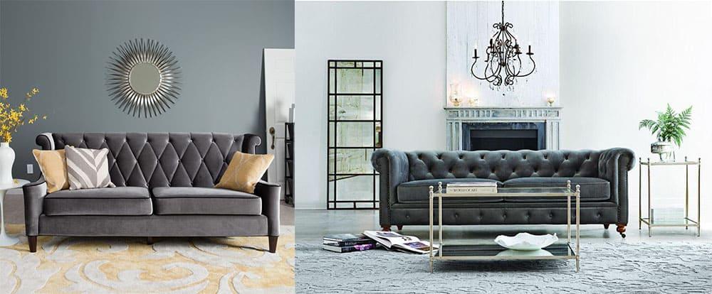 Серые диваны новые оттенки серого металлический блеск и бархат переливы цветового тона в бархате новинки диванов 2018