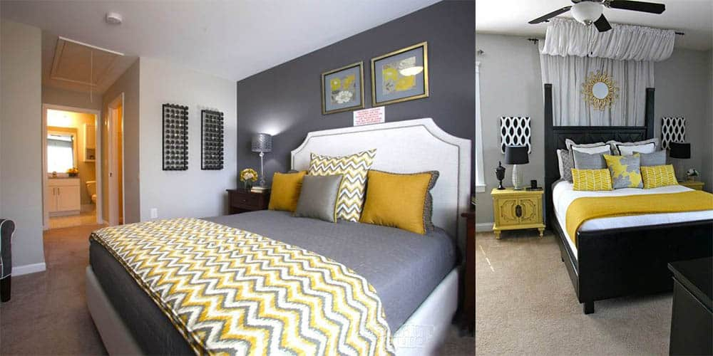 Серый и желтый модное интересное сочетание для спален Дизайн спальни 2018