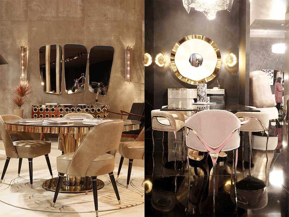 Смешение материалов в дизайне мебели латунь Современный интерьер 2018