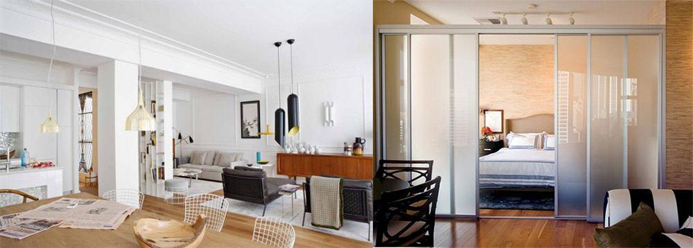 Апартаменты по типу студии, открытая планировка и ее преимущества, стильные перегородки Апартаменты 2018