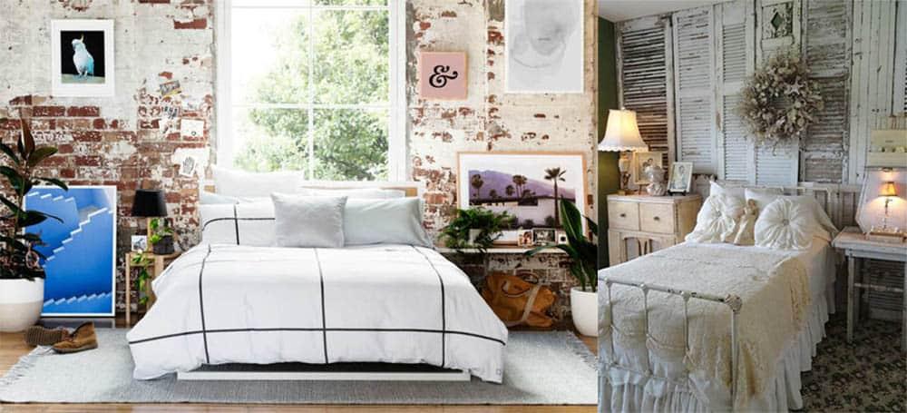 Сырой стиль стены выглядящие необработанными состаренными или неряшливыми идеи дизайна спальни 2018