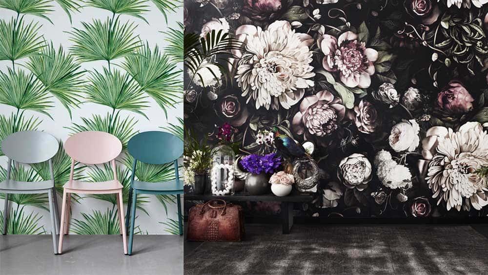 Флоральные мотивы пальмы и цветы в стиле художников Ренессанса интерьер дома 2018