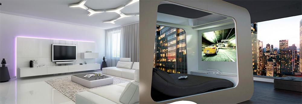 Хай-тек - технологичный урбанистический стиль с обильным использованием декоративного и функционального освещения для зонирования Апартаменты 2018