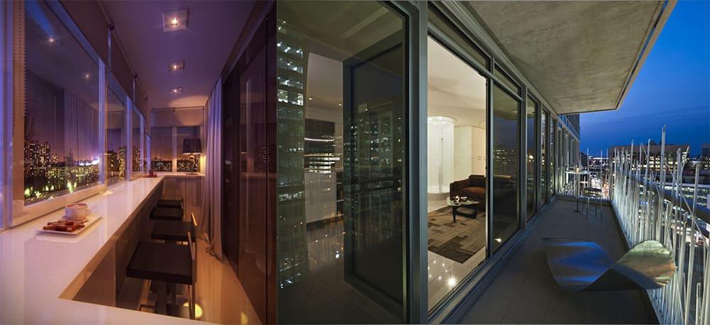 Хай-тек балкон с видом на ночной город дизайн балкона 2018