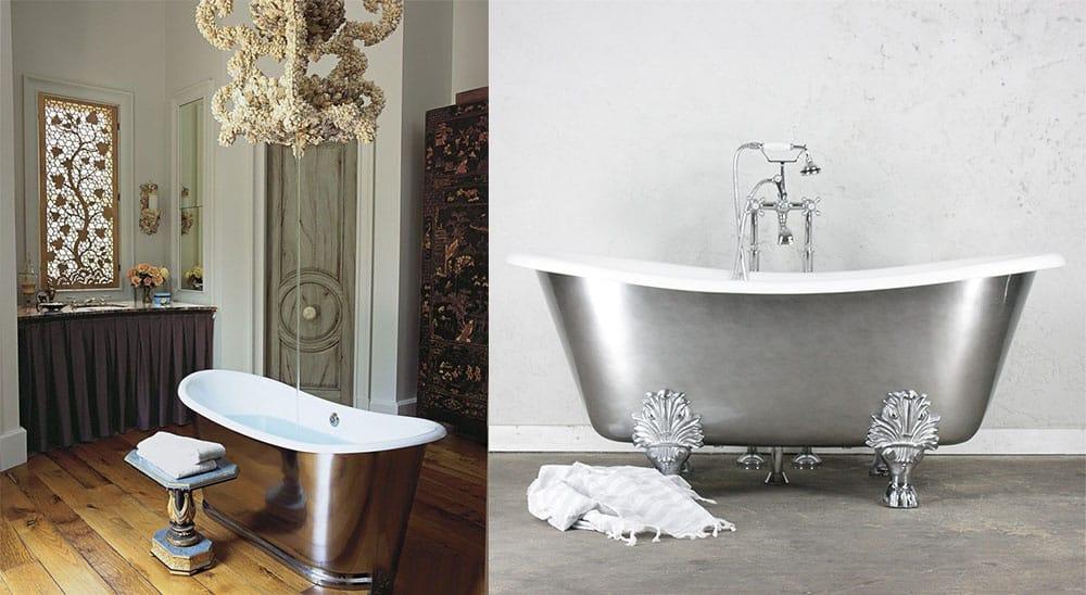 Хромированная ванна металлический блеск расширяющий зрительно пространство маленькой ванны Ванна 2018