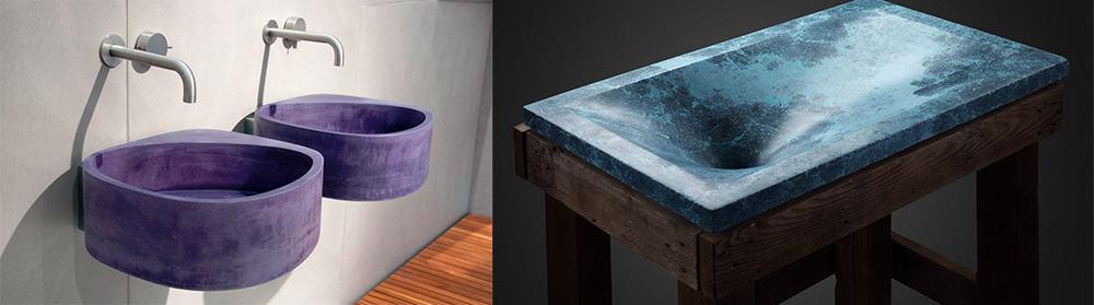 Цветная бетонная сантехника новое слово в индустриальном дизайне интерьера модные цвета в интерьере