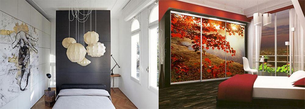 Шкаф-невидимка как произведение искусства и декоративный элемент комнаты принты графиты картины идеи дизайна спальни 2018