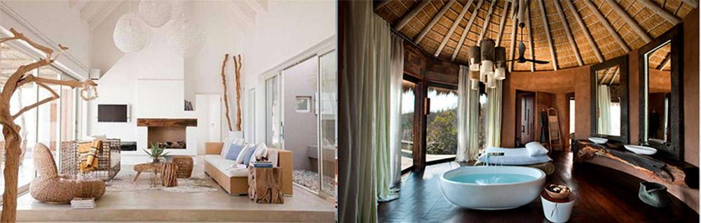 Эко-декор для дизайна частного дома имитация элементов природы и натуральные материалы в отделке стен пола и потолка современные дома 2018