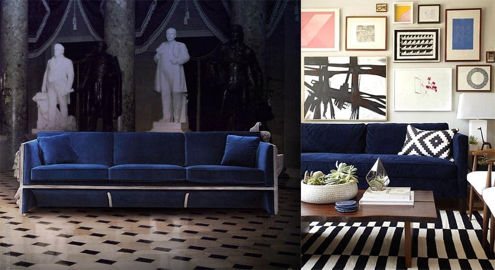 Ярко-синие диваны для акцентов в интерьере синий электрик и темно-синий новинки диванов 2018