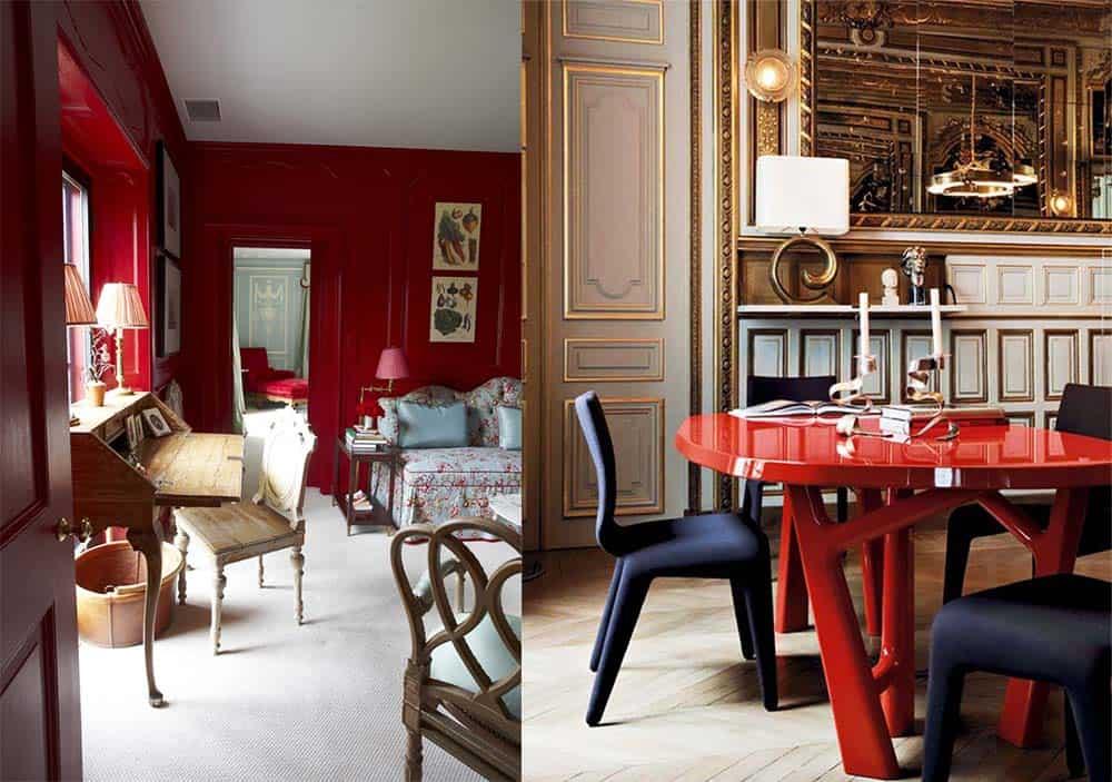 Caliente ярко-красный цвет года по проекту компании Benjamin Moore Современный интерьер 2018