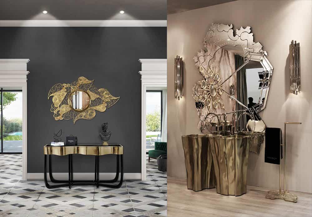 Декоративные зеркала в стиле Ар Деко имитация sunbusrt Позолота и модульность Идеи интерьера 2018