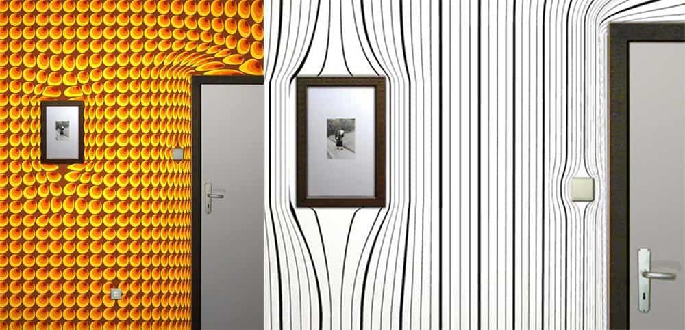 Деформация пространства при помощи принтов с оптическими иллюзиями Дизайн обоев 2018