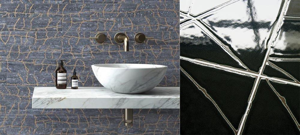 Кинцуги - трещины с металлическими вкраплениями Плитка для ванной 2018