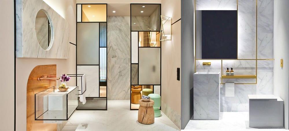 Контуры золотого и черного цвета и витражное стекло Идеи ванной комнаты 2018