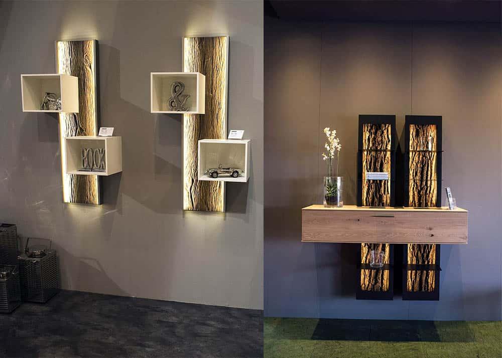 Светильники в виде стволов деревьев, очень стильно и атмосферно Идеи интерьера гостиной 2018