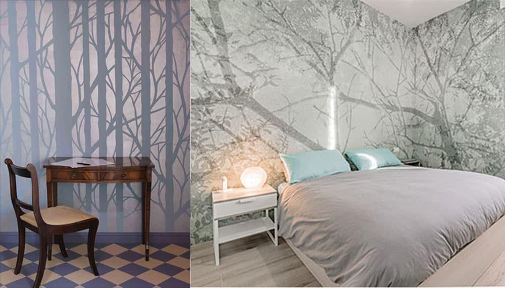 Дизайн обоев 2018 с эффектом падающей на стену тени интересные варианты дизайна