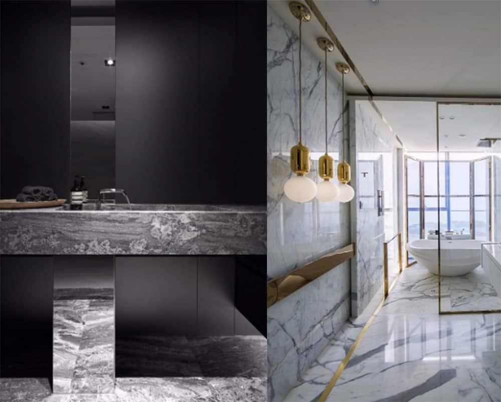 Текстура мрамора в отделке ванной комнаты Идеи ванной комнаты 2018