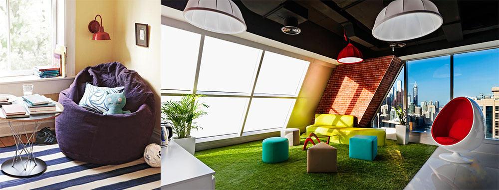 Уютная мебель для домашнего кабинета мягкаямебель пуфы Кабинет 2018