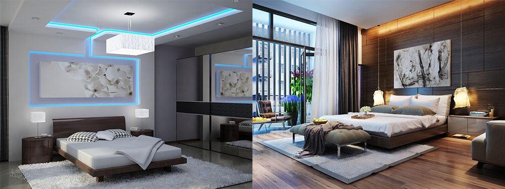 Холодное и теплое освещение холодный и теплый тон подсветки Идеи дизайна спальни 2018