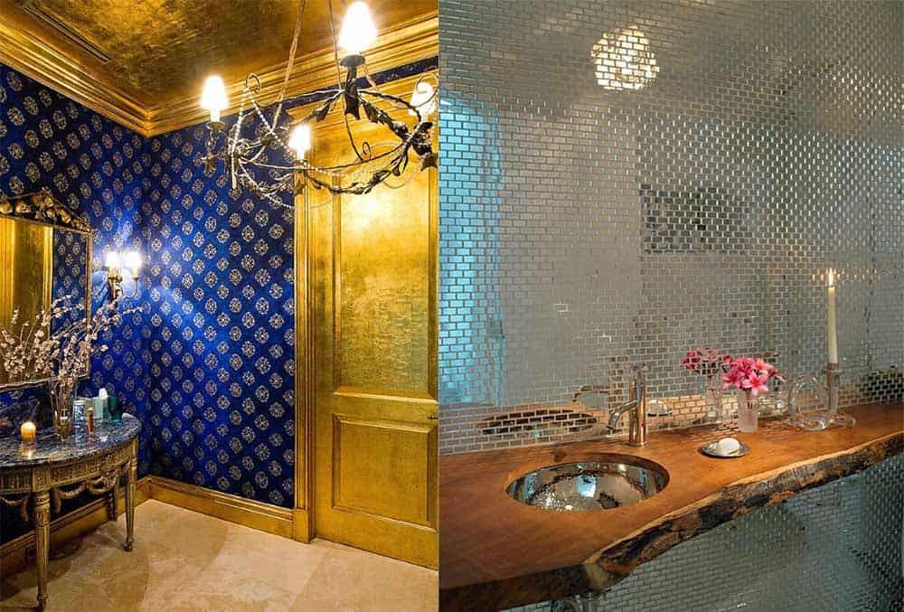 Хромированные поверхности в отделке стен ванной Идеи ванной комнаты 2018