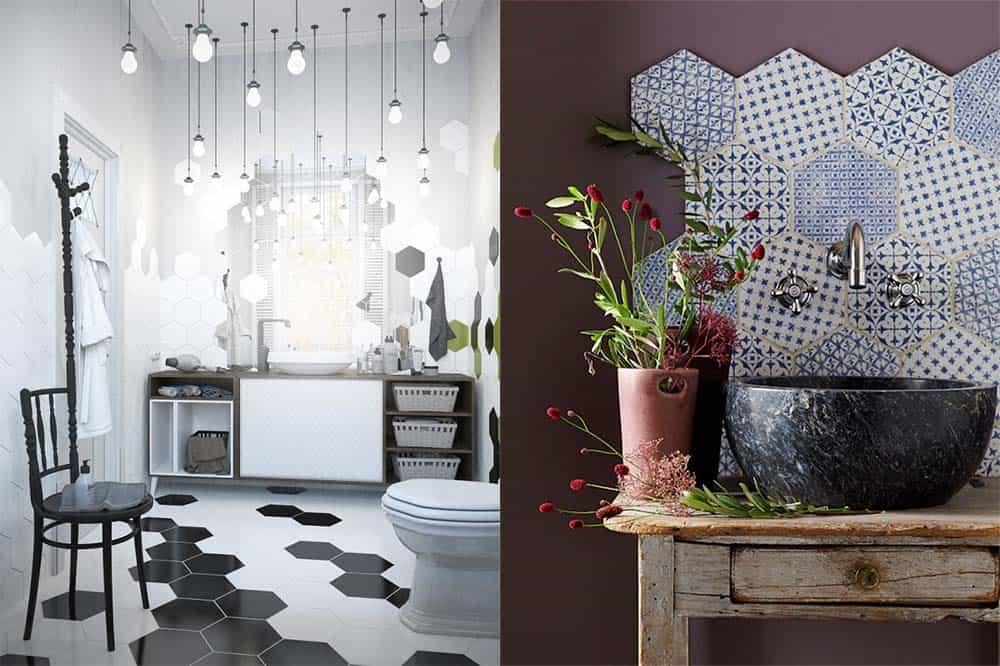 Шестиугольная плитка для ванной, крупная геометрическая плитка Плитка для ванной 2018