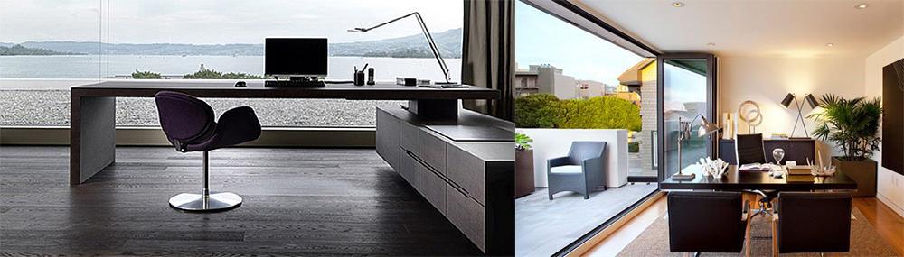 Open-space концепция с большими панорамными окнами для включения вида за окном в дизайн офиса Кабинет 2018
