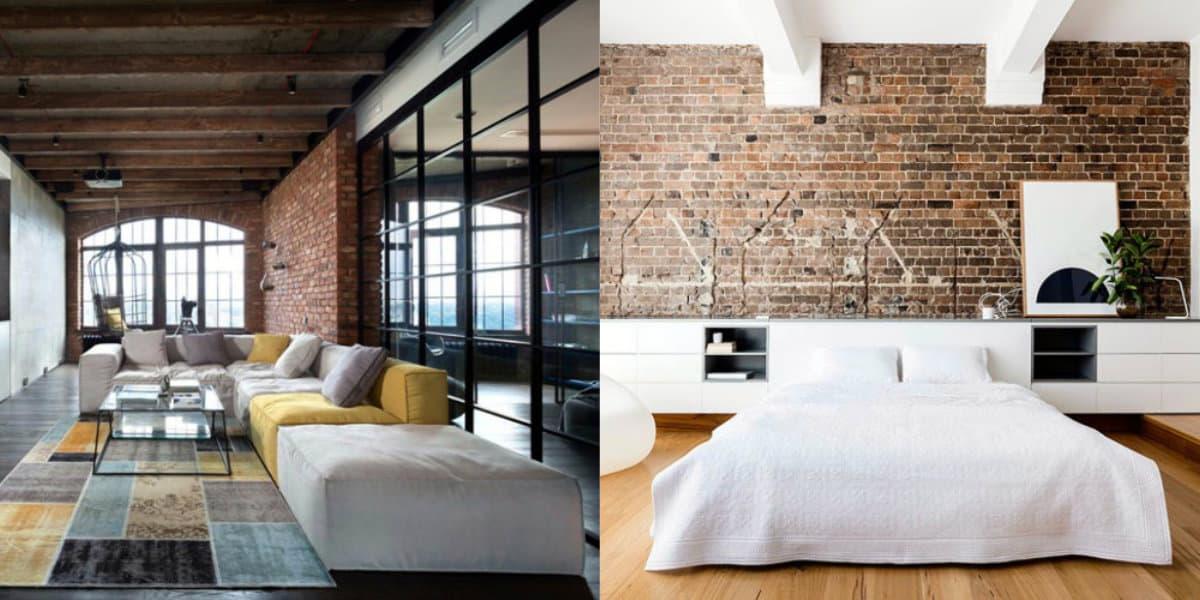 Стиль Лофт в интерьере : спальня и гостиная