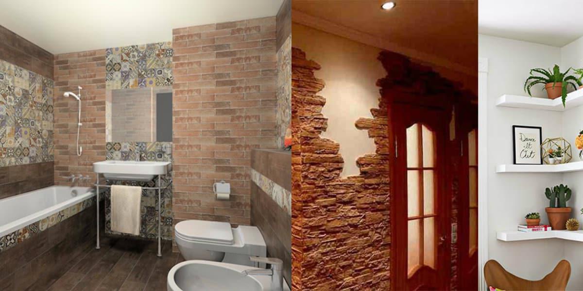 Интерьер квартиры 2018: камень в ванной