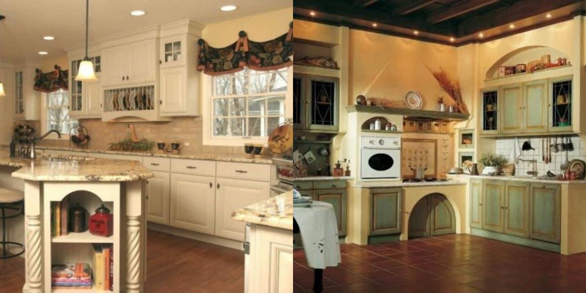 Кухня в стиле Кантри: темные полы